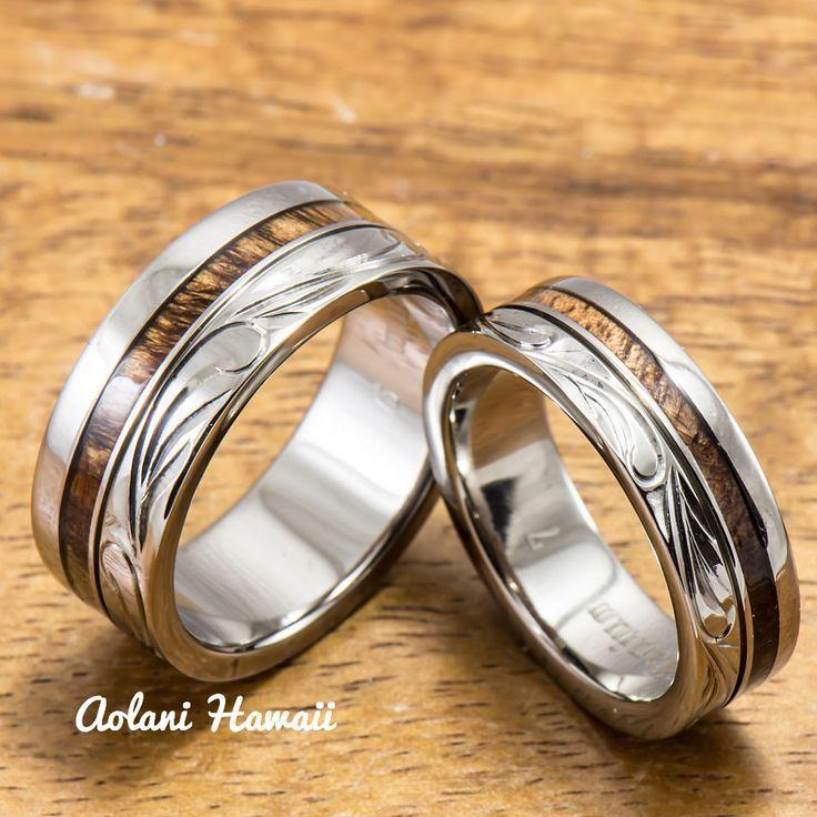 Titanium Wedding Rin Ring Set With Hawaiian Koa Wood Inlay 6mm