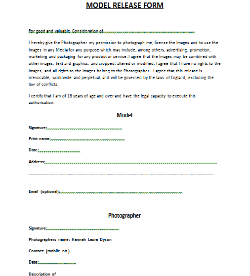 Model Release Forms images - model release form template | Legal ...