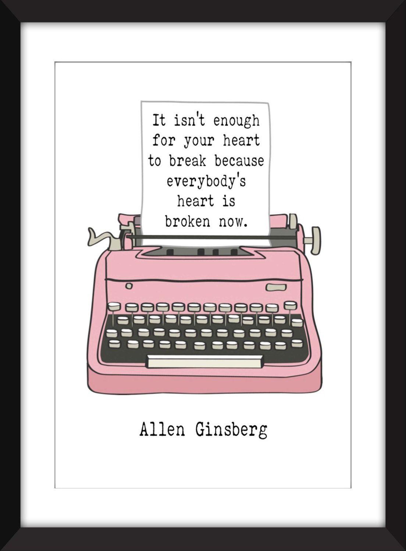 Allen Ginsberg Heart Quote Unframed Print  Allen Ginsberg