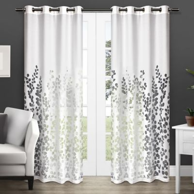 wilshire 84 inch sheer grommet top window curtain panel pair in white bedbathandbeyondcom - White Sheer Curtains