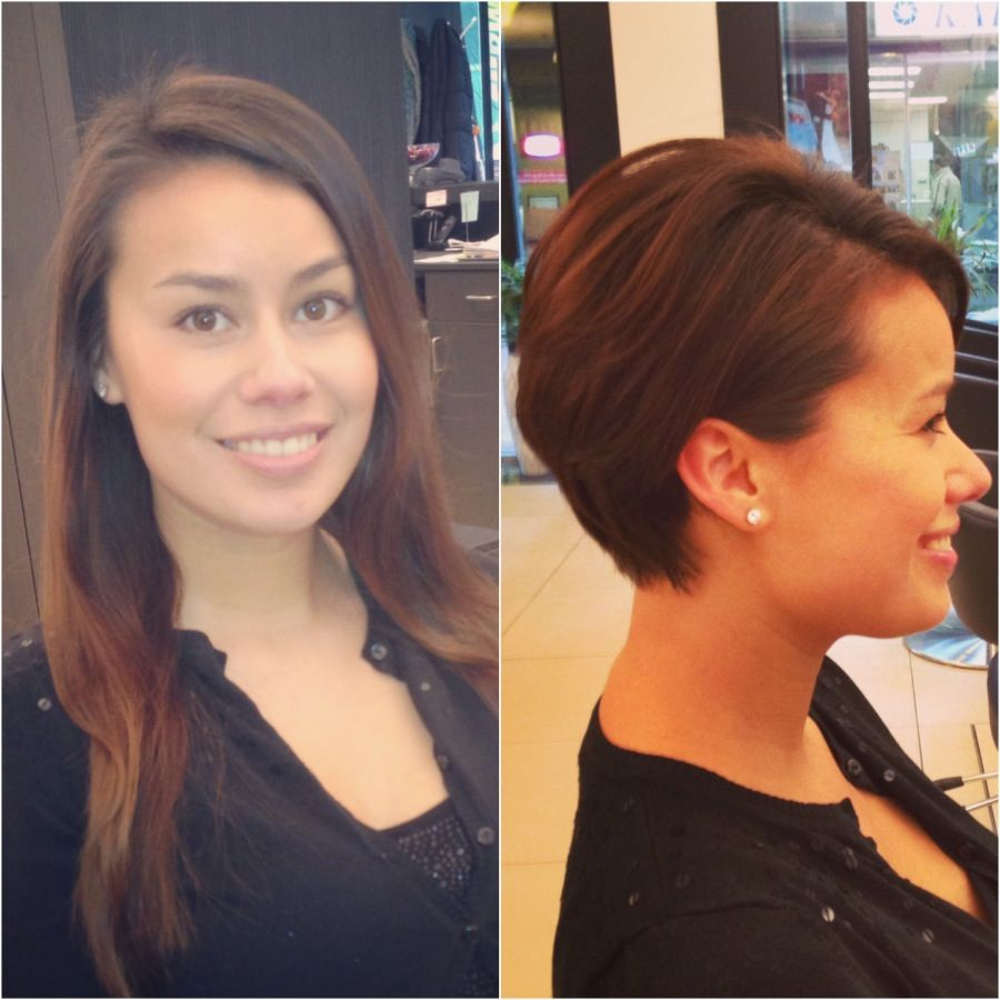 Before And After From Long Hair To Pixie Haircut Pixie Haircut Crop Hair Long To Short Hair