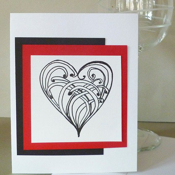 Valentine Card with Original Zentangle Hand Drawn by bbesigns