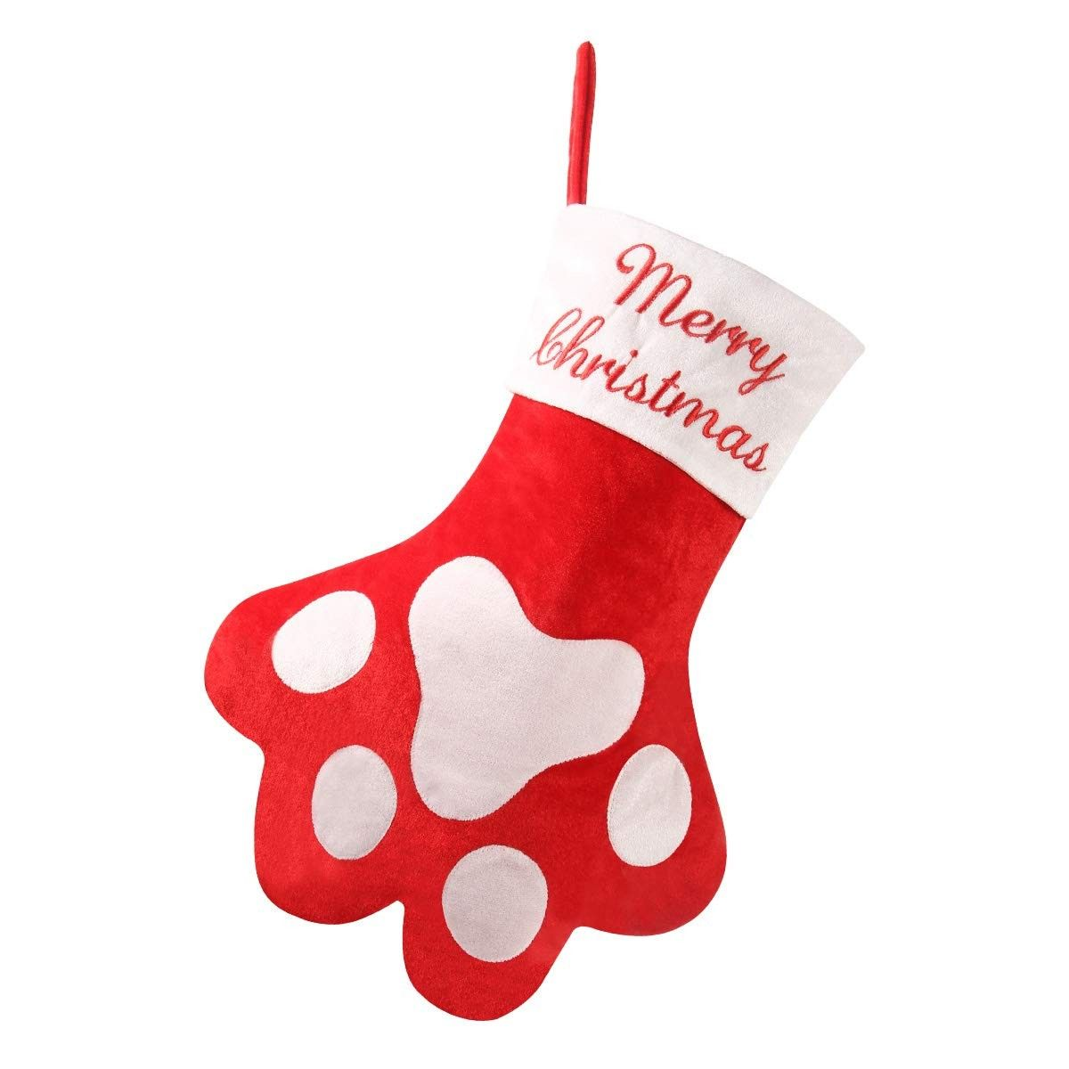 875e05e2046 Red Pet Paw Christmas Stocking - Large Size 18