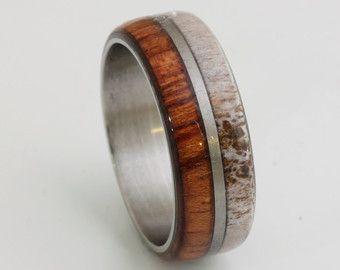 Titanium Ring Man Ring Wood Ring Wood Wedding Band With Iron