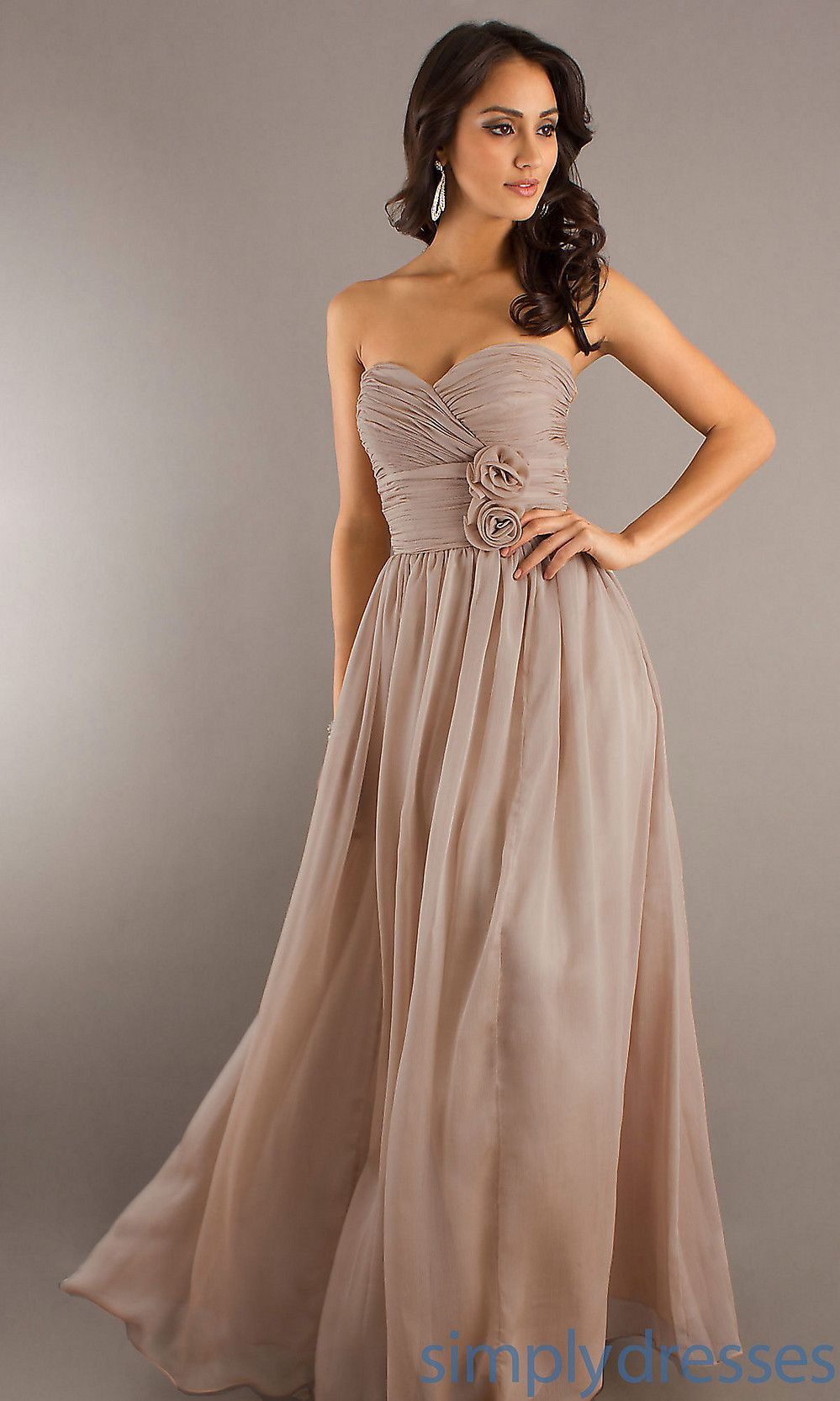Classic long strapless prom gown simply dresses