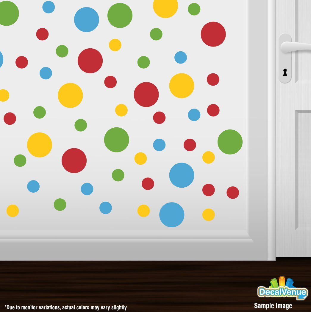 Lime Green//Blue Circles Polka Dots Vinyl Wall Graphic Decals Stickers DecalVenue Set of 30