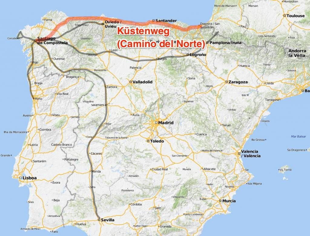 Kustenweg Camino Del Norte Jacobsweg Jakobsweg Jakobsweg Karte