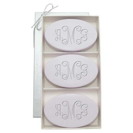 A perfect gift for your favorite hostess, these triple-milled soaps are crafted in Vermont with natural materials and feature a monogram accent and lush lave...
