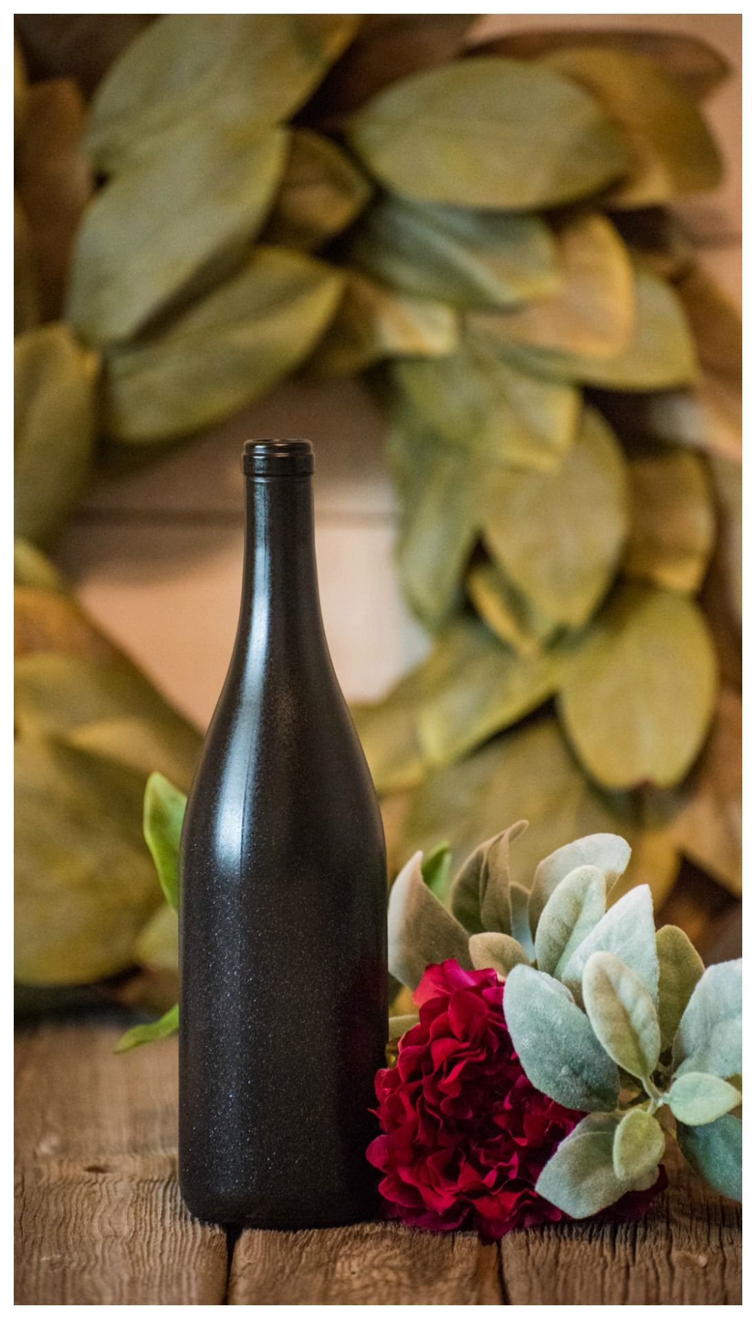 Black Wine Bottle Wedding Decor Glitter Vase Wine Bottle