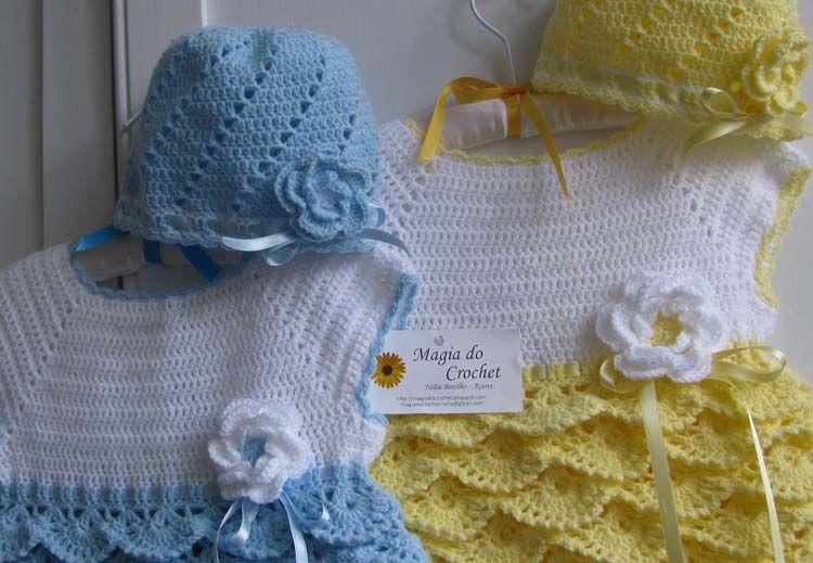 Magia do Crochet: Vestidos, boinas e bandoletes para meninas gémeas... tudo em crochet...