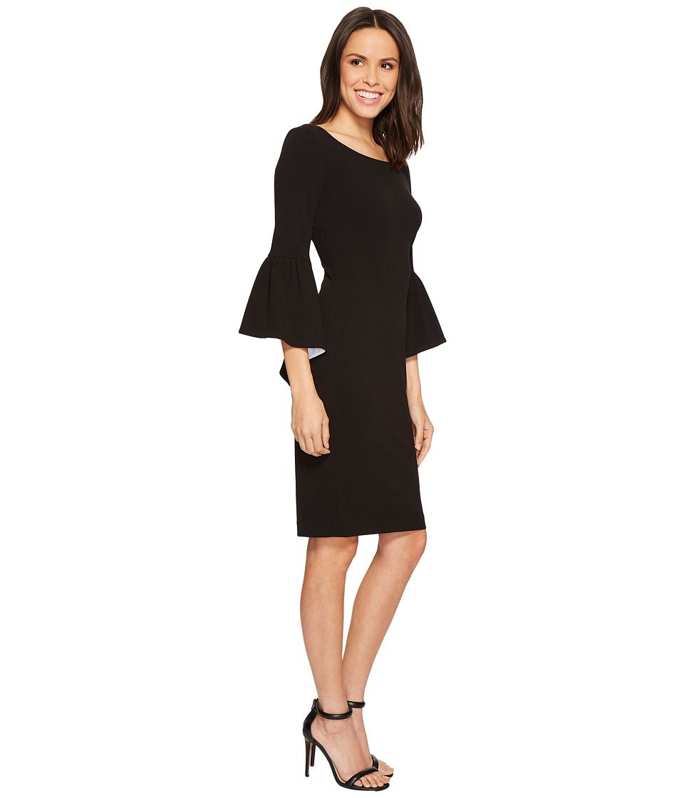 5c4bd528 Calvin Klein Ruffle Bell Sleeve Sheath with Contrast Lining in Sleeve  CD8C14GY Women's Dress Black/White