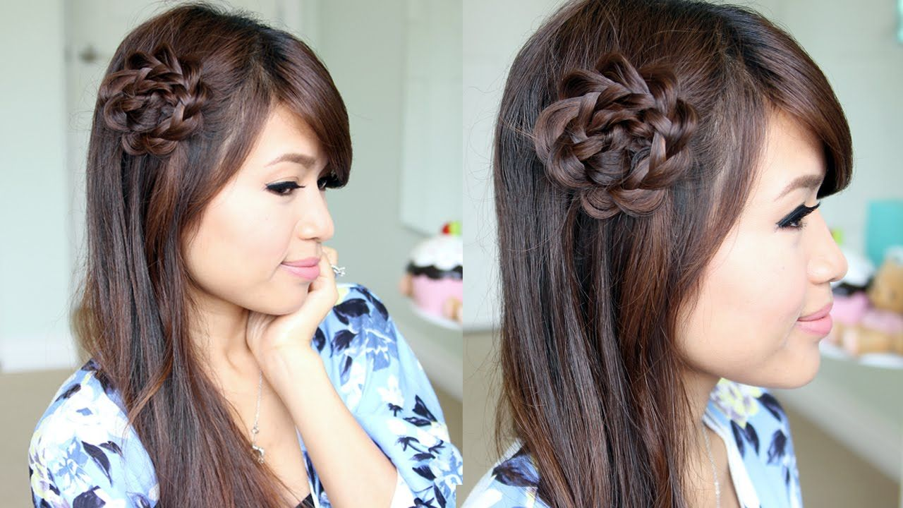 Rosette Flower Braid Hairstyle for Medium Long Hair Tutorial