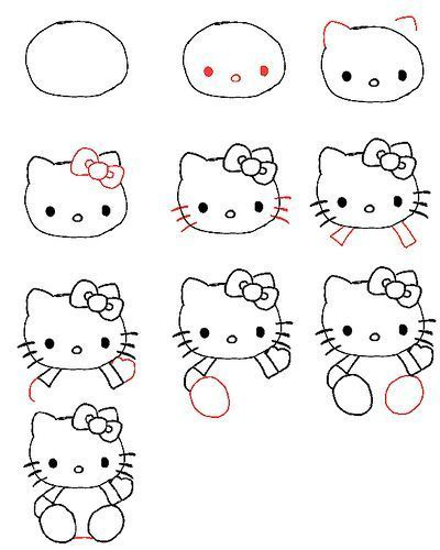 How to Draw Hello Kitty   Hello Kitty   Pinterest   Wissen, Zeichnen ...