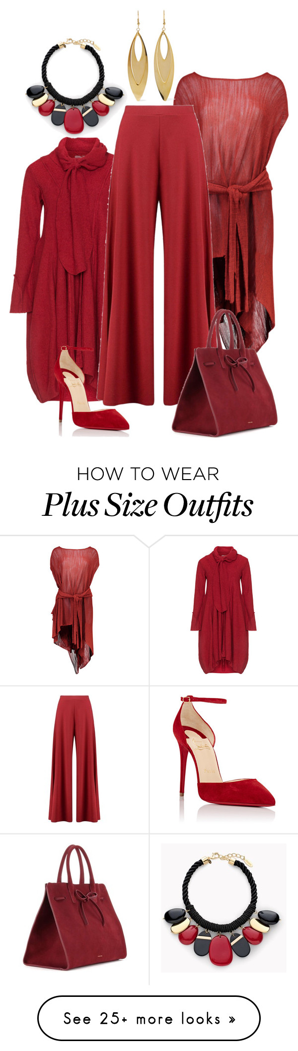 """""""red"""" by kim-coffey-harlow on Polyvore featuring Boohoo, Christian Louboutin, Mansur Gavriel, Chico's and Kenneth Jay Lane"""