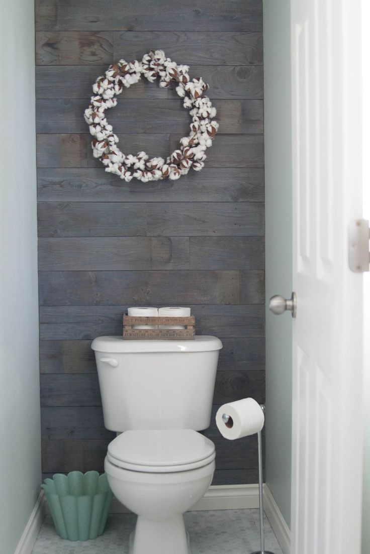 Plank Wall Stained In Minwax Classic Gray Half Bath