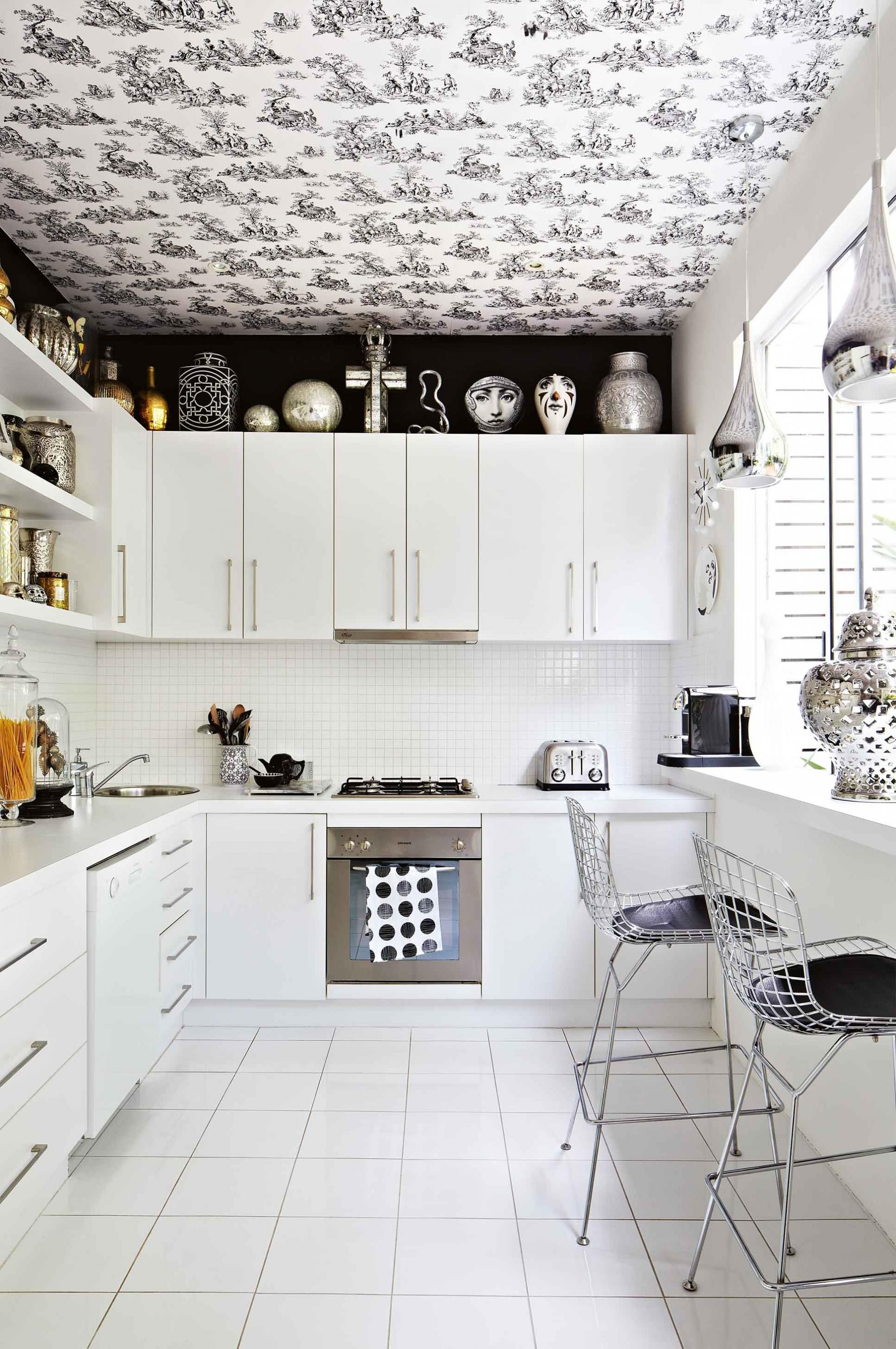 Black White Kitchen Wallpaper Sept14 室内装饰 Kitchen Wallpaper
