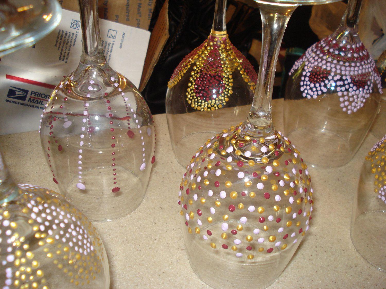 hand painted wine glasses sangria themed bridal shower favors 1500 via etsy