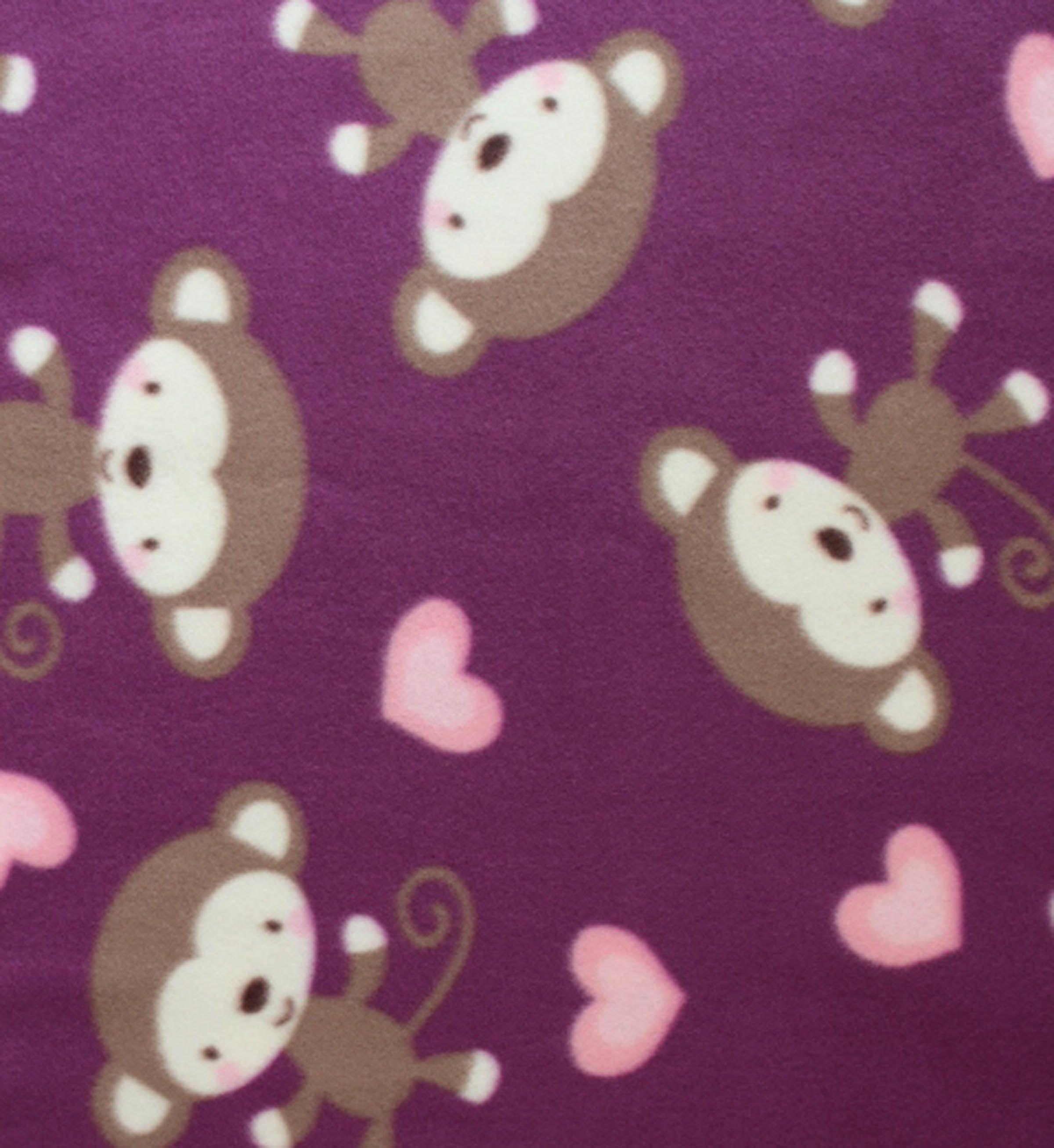 Blizzard fleece fabricmonkeys and hearts fleece fabrics