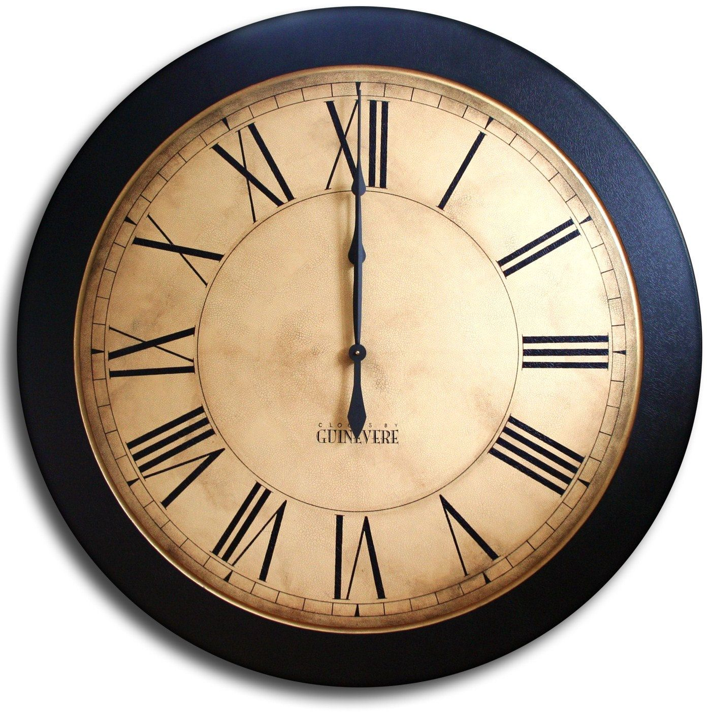 Large Wall Clock 24in Antique Style Big Round Clocks Whiting Distressed Large Wall Clock Wall Clock Big Wall Clocks