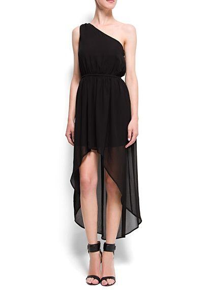 e0a4cee132 One Shoulder Tail Hem Dress Via Mango Flowy Hi Low Black