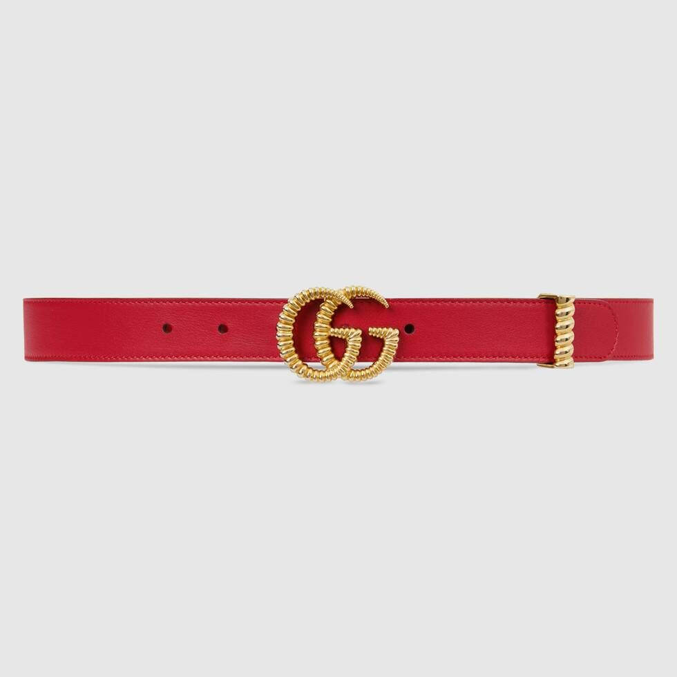 Photo of Gucci Leather belt with torchon Double G buckle