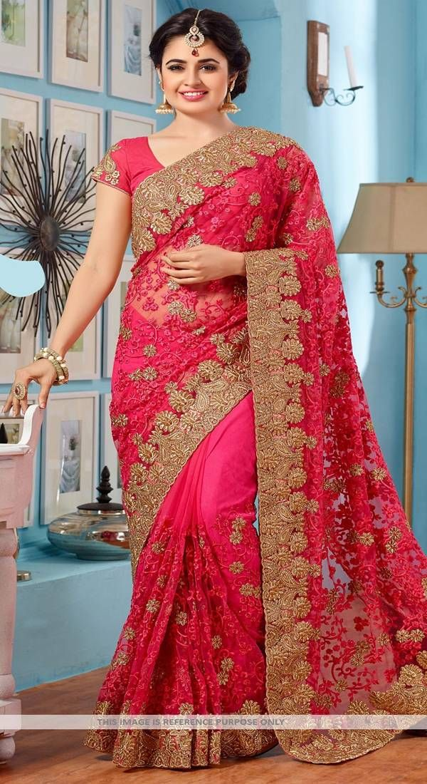 3f86e603dd1 Pink embroidered net saree with blouse - Tiana Creation - 2128873 Indian  Lehenga