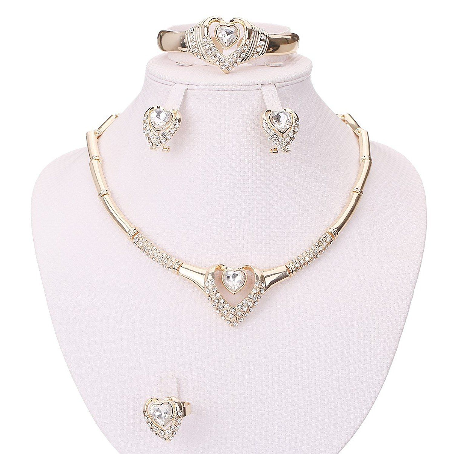 Moochi zircon heart gold plated crystal necklace earrings bracelet