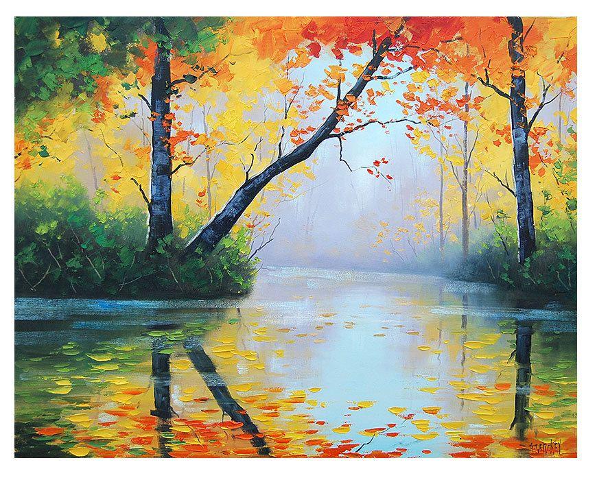 ORIGINAL OIL PAINTING River Impressionist Tree Vibrant ...
