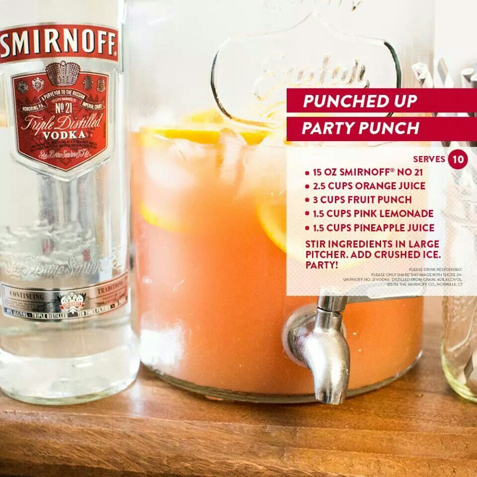 Punched Up Party Punch Smirnoff Orange Juice Fruit