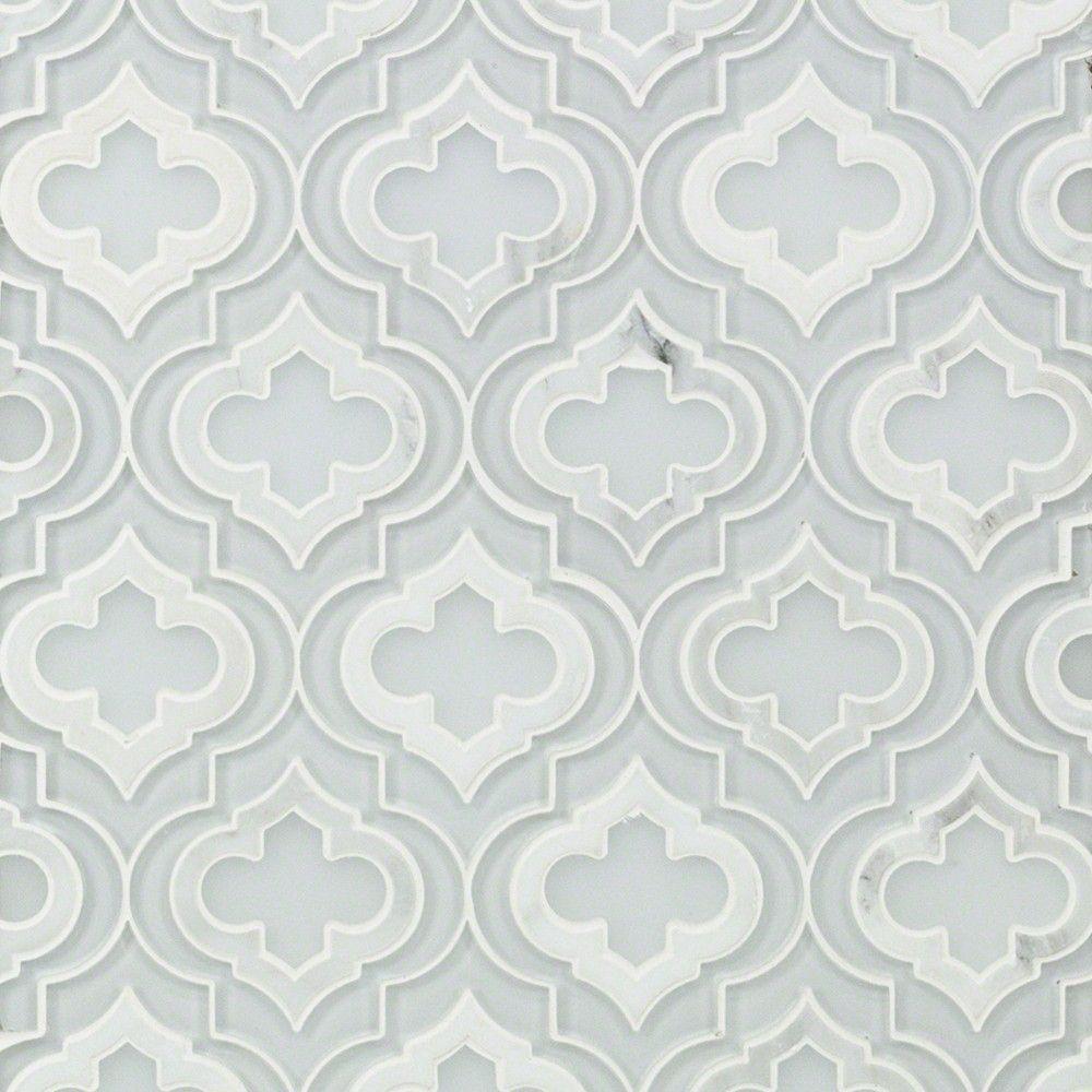 Kensington super white glass  asian statuary marble tile arabesque shop by also