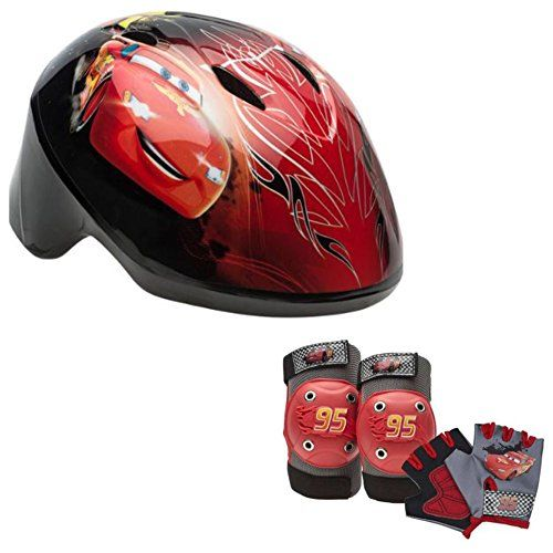 Disney Pixar Cars Toddler Kids Skate 7 Piece Set Bike Helmet Pads /& Gloves