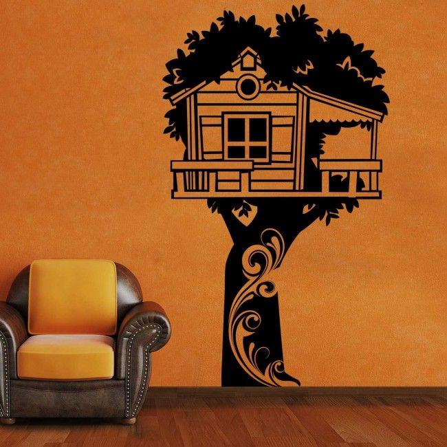 Kids Tree Hut Black Wall Sticker Decal #WallPaper #WallArt ...