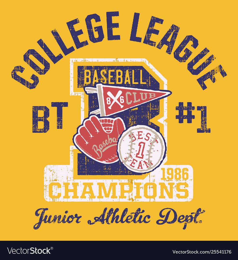 Baseball kids college league champ Royalty Free Vector