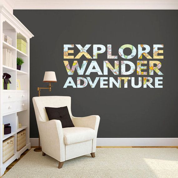 explore wander adventure wall printed quote wall decals sticky