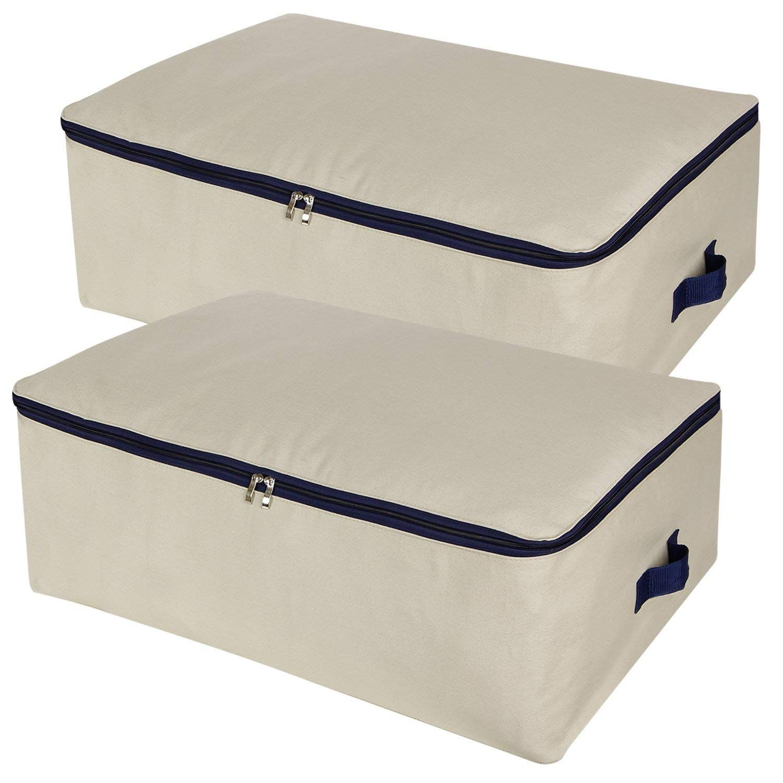 Amazon Com Lifewit Cotton Canvas 100l Large Capacity Storage Bags Foldable Underbed Storage Bag For Comfor Under Bed Storage Blanket Storage Comforter Storage