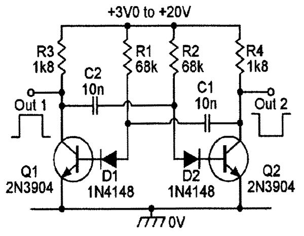 wide supply voltage example of a 1khz astable multivibrator