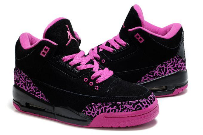 pink and black jordans womens