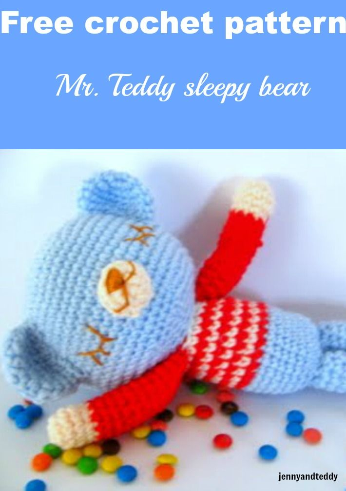 Free amigurumi Mr  Teddy sleepy bear crochet pattern