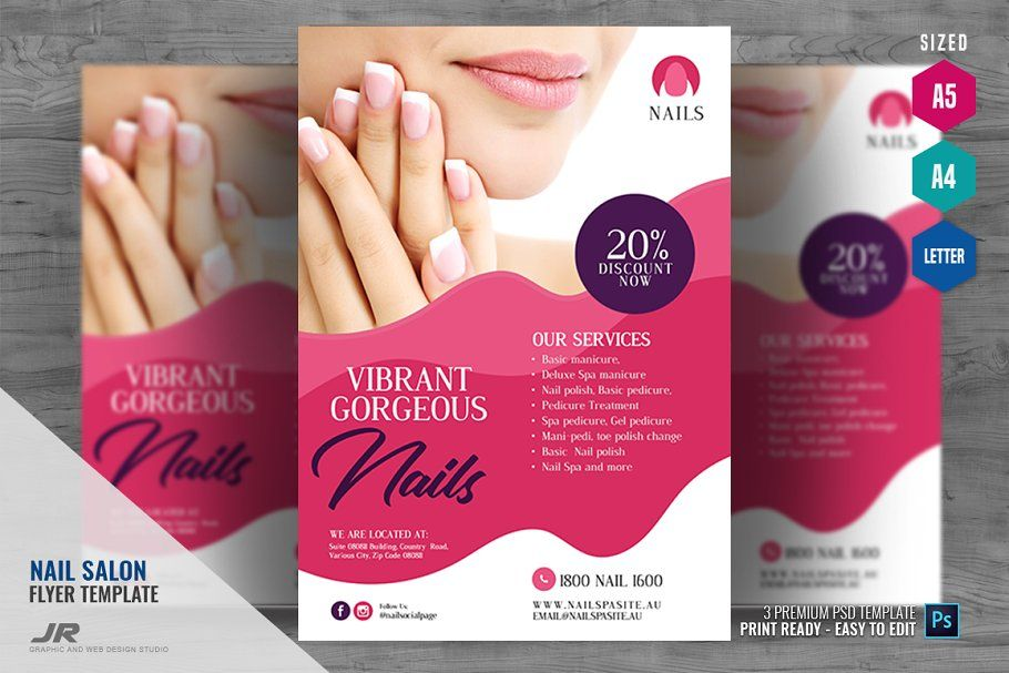 Nail Salon and Spa Flyer in 2020 Spa flyer, Nail salon