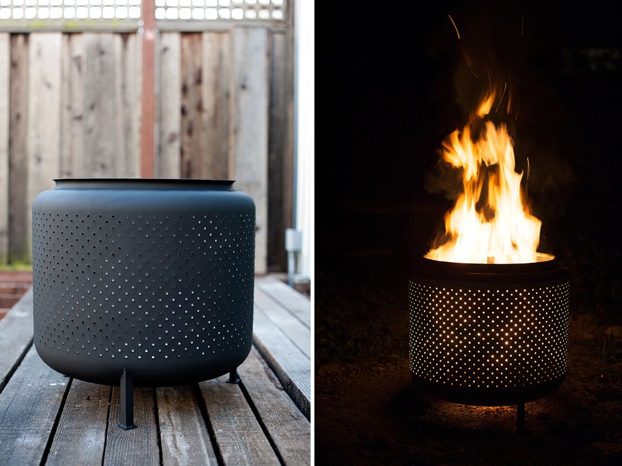 DIY 1 hour, recycled fire pit made from a washing machine drum via House