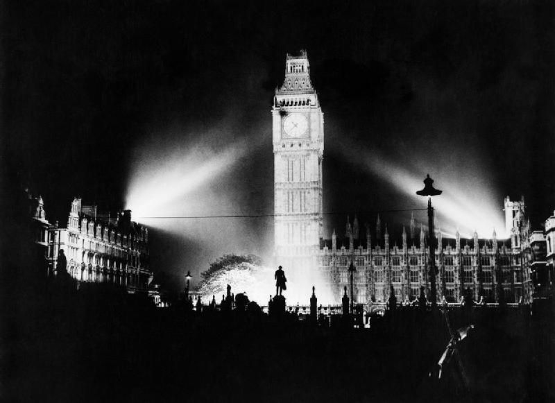 Big Ben Floodlit On Ve Day 8th May 1945 London