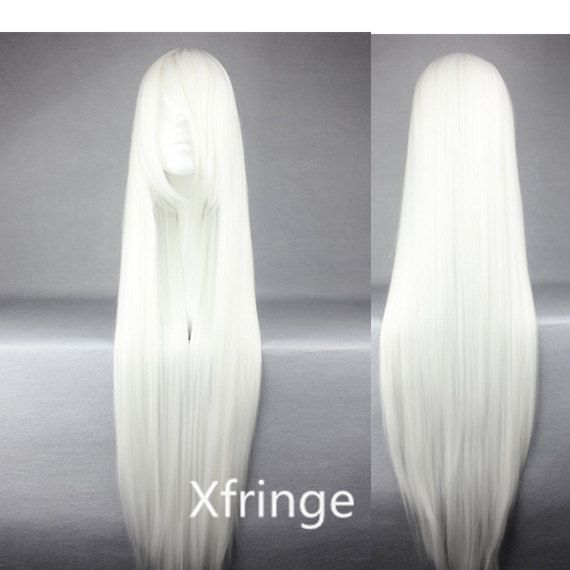 Long White Wig Cosplay White Wig Straight Anime Cosplay Wig With Bangs Inspired By Touhou Project Fujiwara No Mo Long Hair Wigs Long Hair Styles Wig Hairstyles