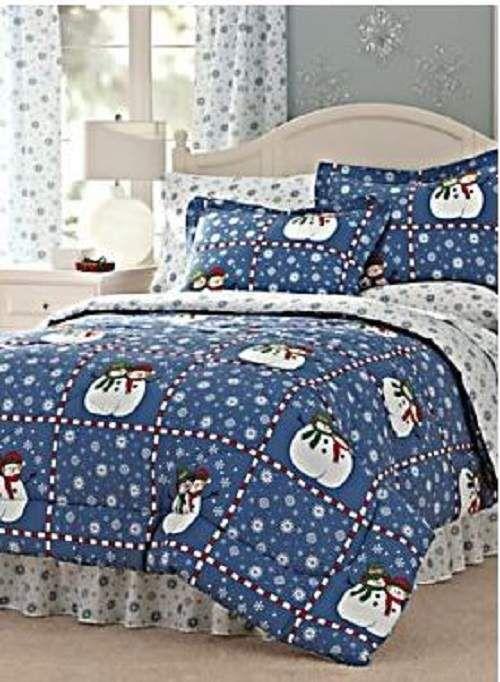 King Snowman Christmas Winter Comforter Sham Skirt Blue Snowflake Bedding 4pcs Ebay Kids