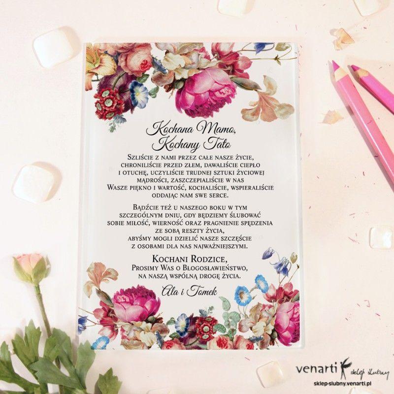 Eko Kwiaty Szklane Zaproszenia Dla Rodzicow 1953 Sklep Slubny Venarti Wedding Book Cover Day