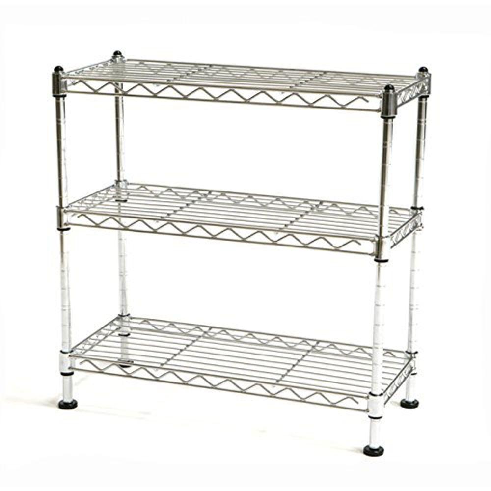 4 Tier Wire Shelving Rack Metal Adjustable Unit Shelf Kitchen Garage ...