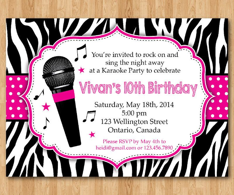 karaoke party invitation. girl karaoka birthday by arthomer, Birthday invitations