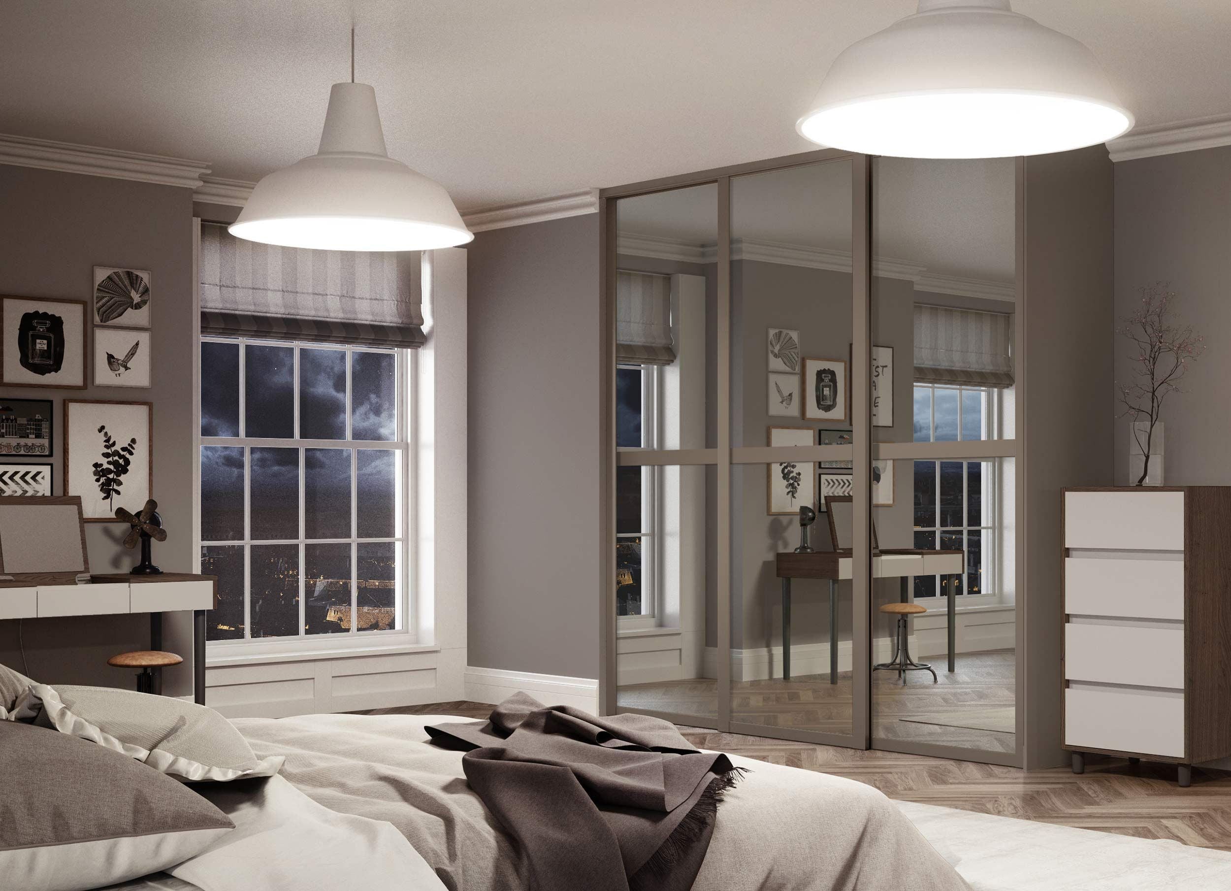 Deluxe shaker panel sliding wardrobe doors in  mirror finish with stone grey frame the ultimate contemporary bedroom interiors also rh pinterest