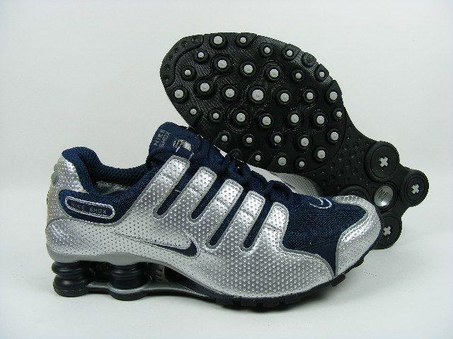 Nike Shox NZ, Nike Shox Shoes Womens Nike Shox NZ Perforated Leather Metallic  Silver Navy [Womens Nike Shox NZ - The Womens Nike Shox NZ Perforated  Leather ...