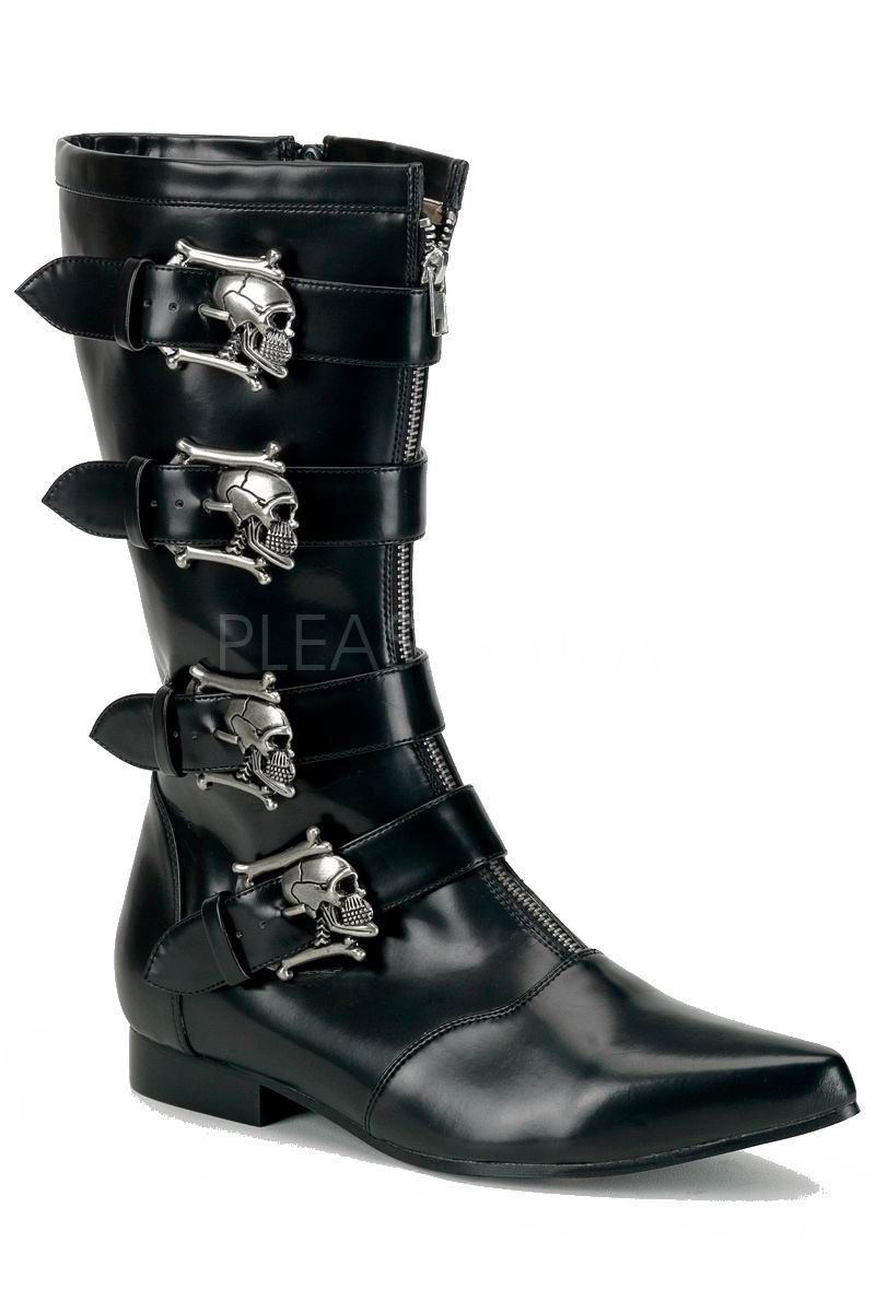 Demonia Boots Black Mens Boots High Winkle Picker with Skull Buckles -  Brogue 107