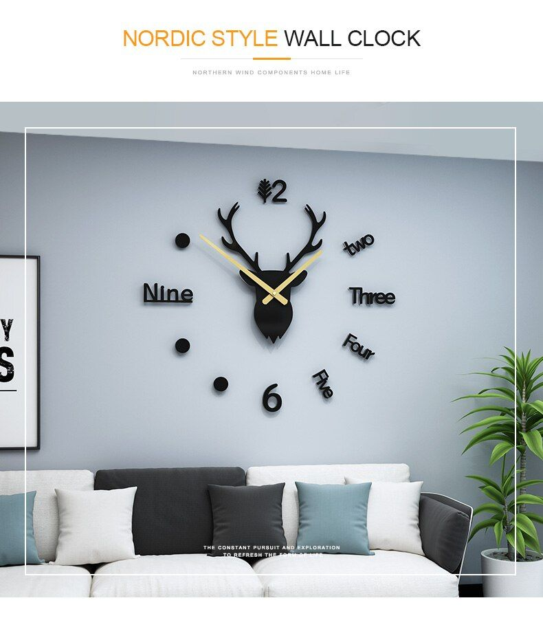 Diy Large Antler Wall Clock Sticker Christmas Gift Silent Home Decorative Hanging Watch Wall Clock Sticker Wall Clock Clock